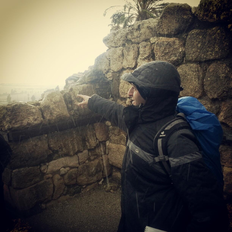 Braving the hail at Tel Meggido