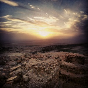Sunset over the ruins of the Israelite fortress at Tel Arad