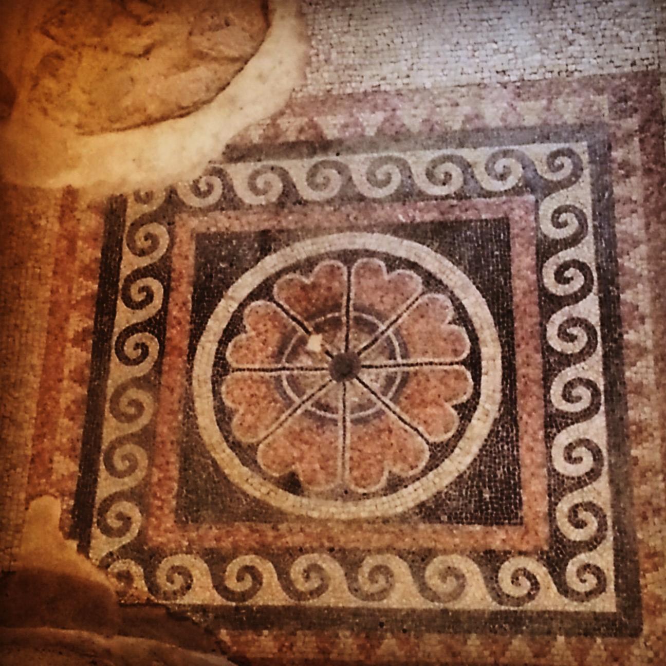 Stunning Herodian mosaic in the Western Palace at Masada