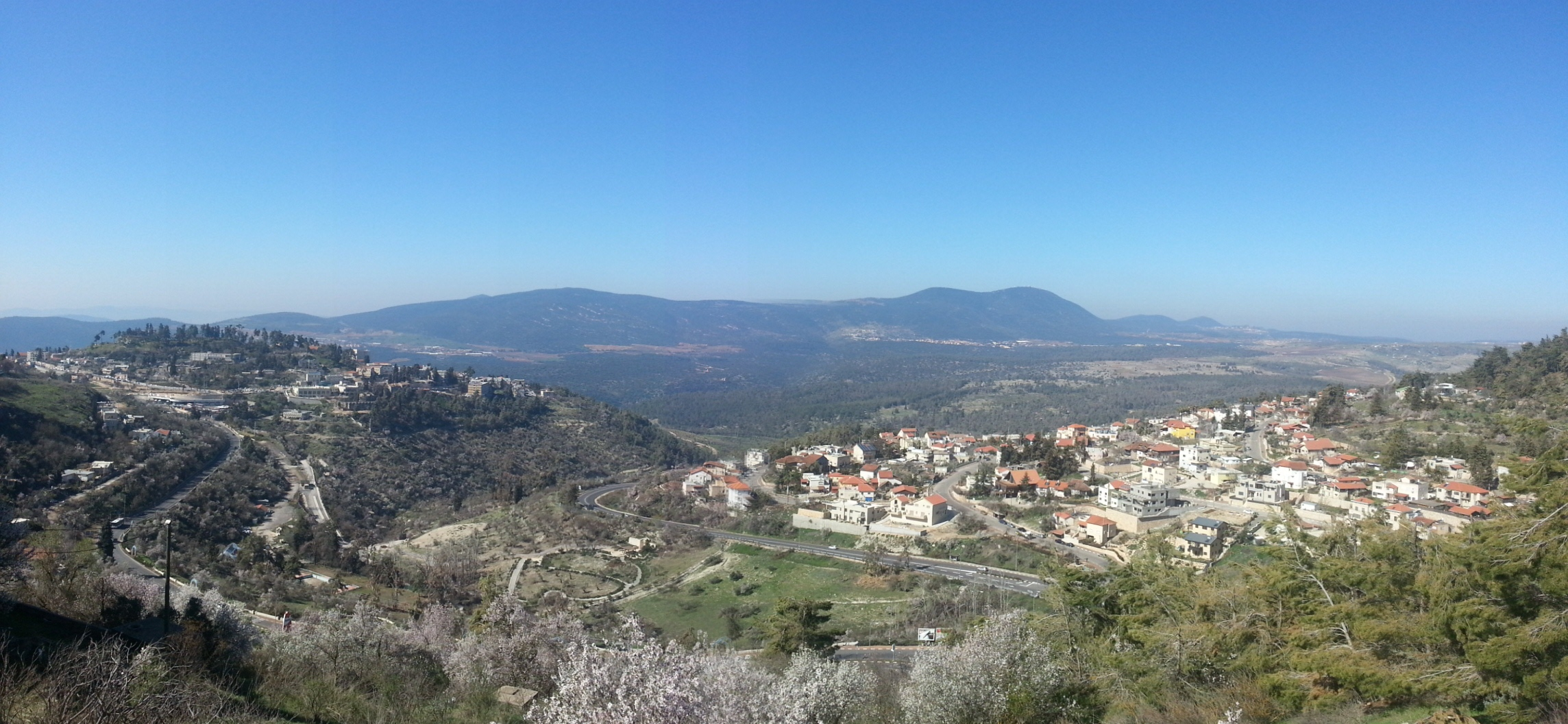 View over Tzefat and Mt Meiron from Mt Canaan