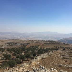 View over the Israelite ritual site on Mt Ebal