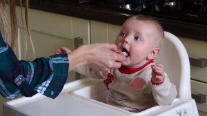 Cute baby eating blitzed Spaghetti and Formula milk blended in the Itsy Blitz!