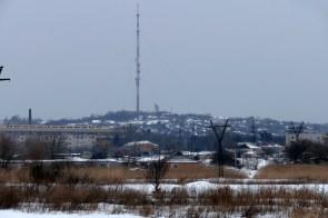 Вид телевышки Изюма и горы Кремянец