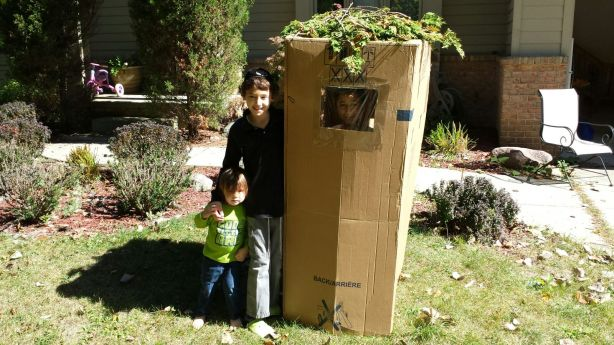 The Pinson kids of West Bloomfield build a tiny (but totally kosher) sukkah.