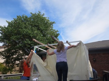 Volunteers help build and decorate sukkahs at homes throughout the community for JARC's Annual Sukkah Assembly.