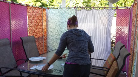 The Kannon Family of Ferndale makes their sukkah out of PVC and tabbed fabric panels.