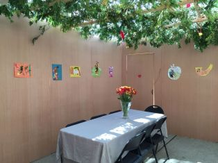 The Goodwin family of Southfield has a sukkah decked out in handmade decorations by their little artist Yoni.