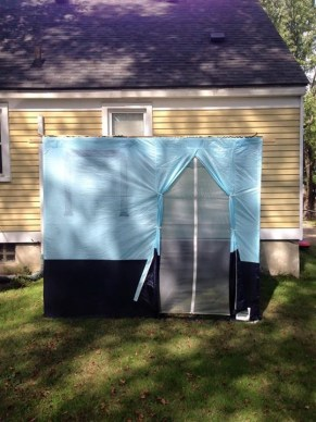 Samantha Lederman, of Berkley, has big fun in her little sukkah with friends and family.
