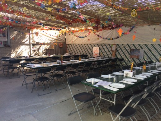 """Here is my sukkah at my Farmington hills home. I have the sukkah for the my family and the Levin family. I host a sit down dinner for about 50 people on the first 2 nights of Succot. This is my 7th year hosting. My husband, Steve Teper designed the sukkah himself."" — Jennifer Teper"