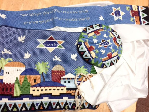 Alyssa's tallit, bag and kippa made by Mommom.