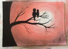 red-pastel-bird-tree