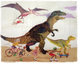 January - Children Skating and Cycling with Dinosaurs (Patricia Mullins)