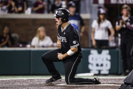Marshall Gilbert celebrates at home plate for Division 1 Mississippi State University last season. Gilbert, who graduated from Westosha Central, was drafted by the Pittsburgh Pirates and plays for the organization's rookie ball affiliate (Submitted/The Report).