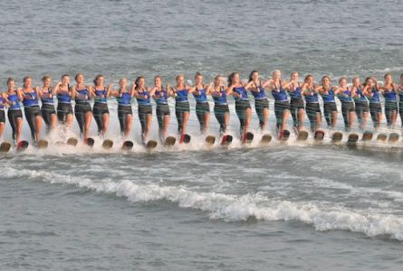 The Aquanuts ballet line performs along Lake Mary in Twin Lakes during a July 31 water ski show (Jason Arndt/The Report).