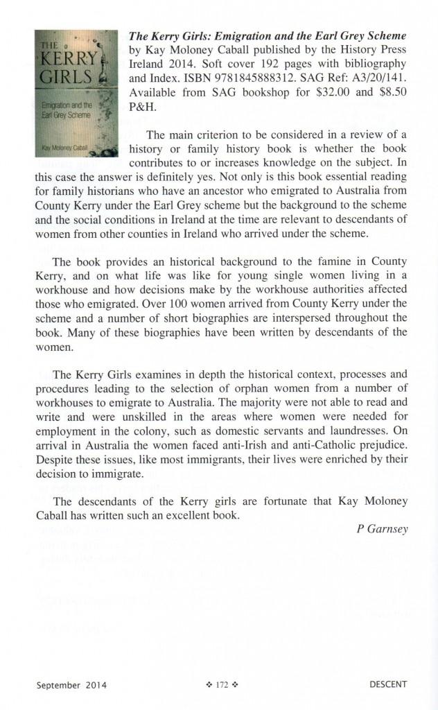 Book Kerry Girls SAG Review Sept 2014