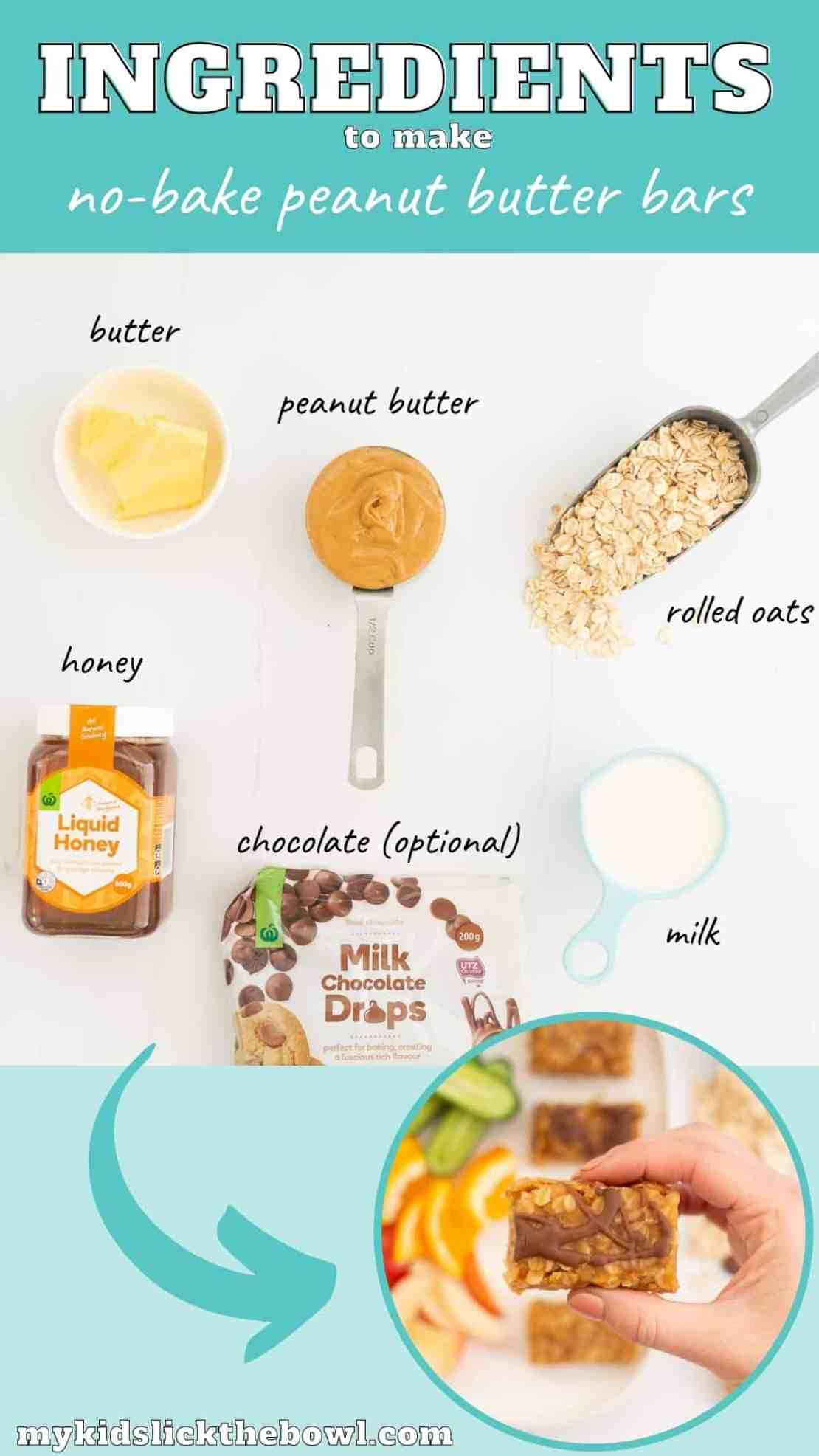 The ingredients to make peanut butter bars laid out on a bench top with text overlay.