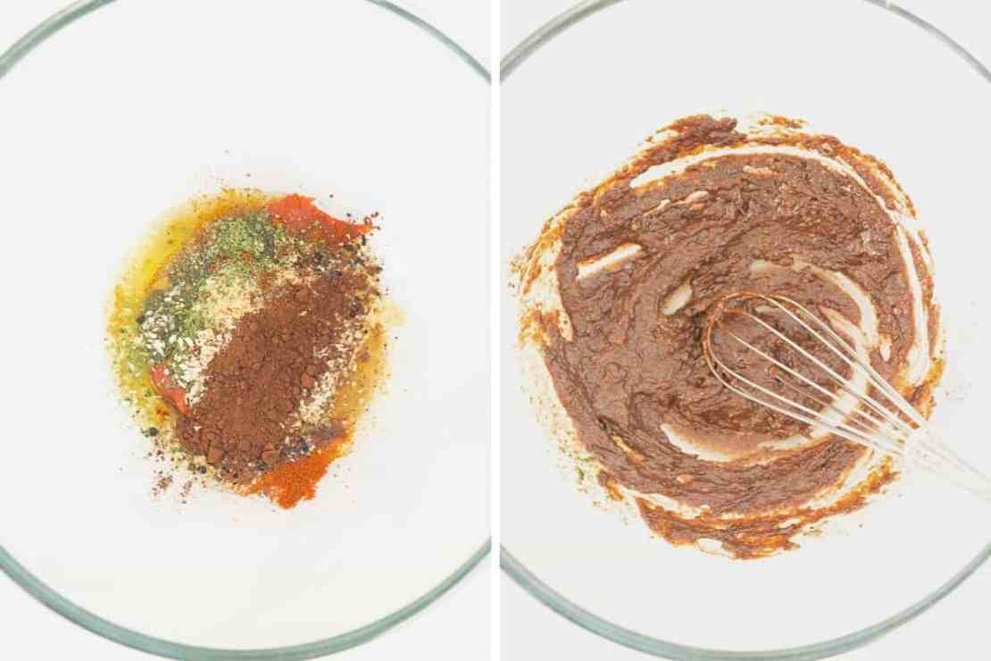 Two photo collage showing the making of a Mexican spice paste.