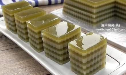 Matcha (Japanese Green Tea) Coconut Milk Layered Agar-Agar