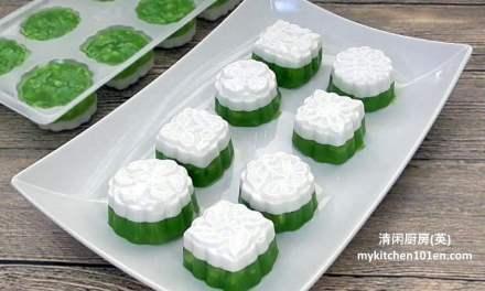 Pandan Coconut Milk Water Chestnut Pudding (Thai Tako)