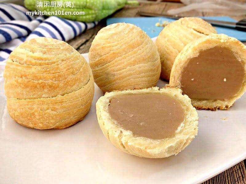 Baked Teochew Taro Paste Flaky Crust Mooncake