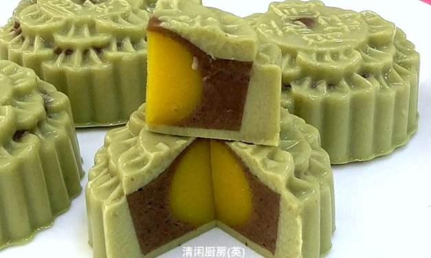 Matcha (Japanese Green Tea) Red Bean Agar-Agar Jelly Mooncakes