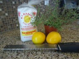 Here's the ingredients for Meyer Lemon & Thyme Infused Sea Salt
