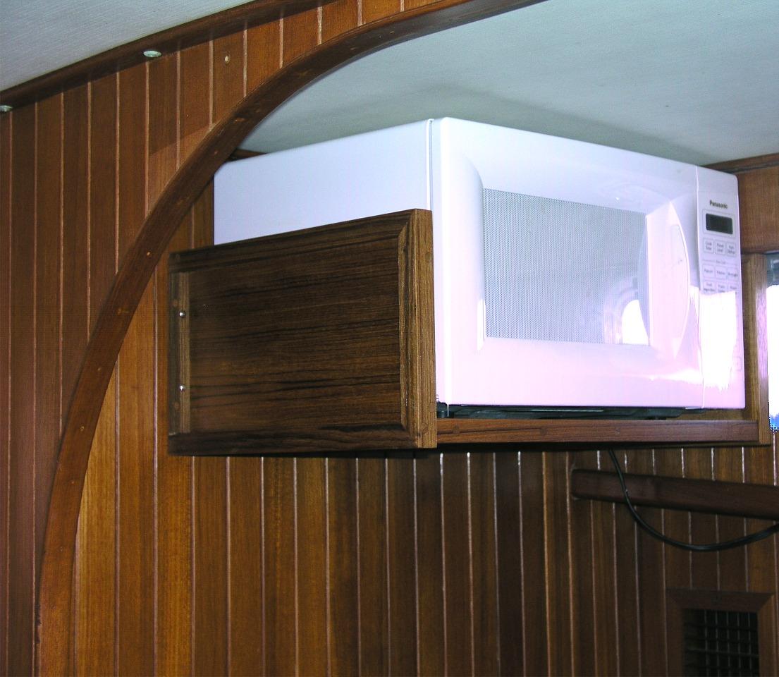 wall mounted microwave shelf wood