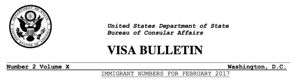 2017年2月移民排期表以及未来动向