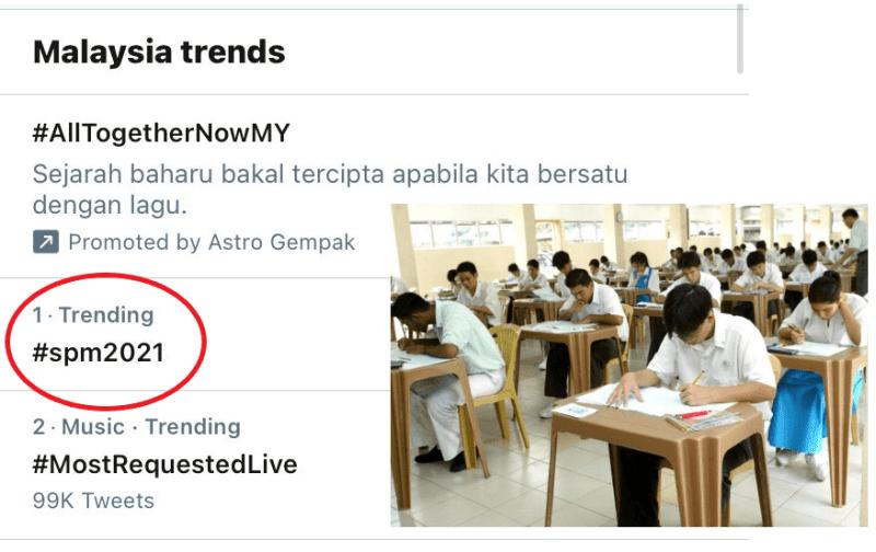 #SPM2021: Tanda pagar SPM2021 'trending' di Twitter