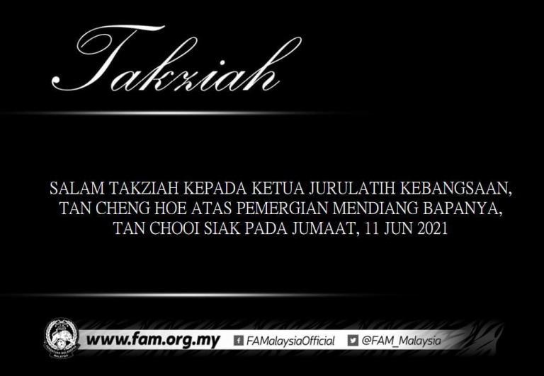 Bapa Tan Cheng Hoe meninggal dunia, Harimau Malaya berduka