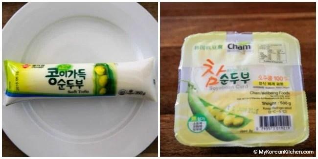 Different types of Sundubu (Korean soft tofu)