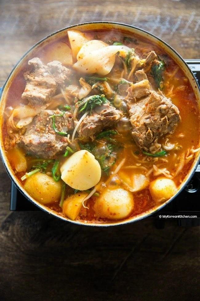 Pork Neck Bone Soup (Gamjatang) | MyKoreanKitchen.com