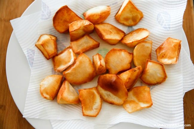 Resting Deep Fried Sweet Potatoes on Kitchen Paper