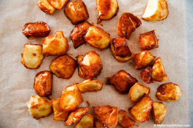 Candied Sweet Potatoes on a Baking Paper