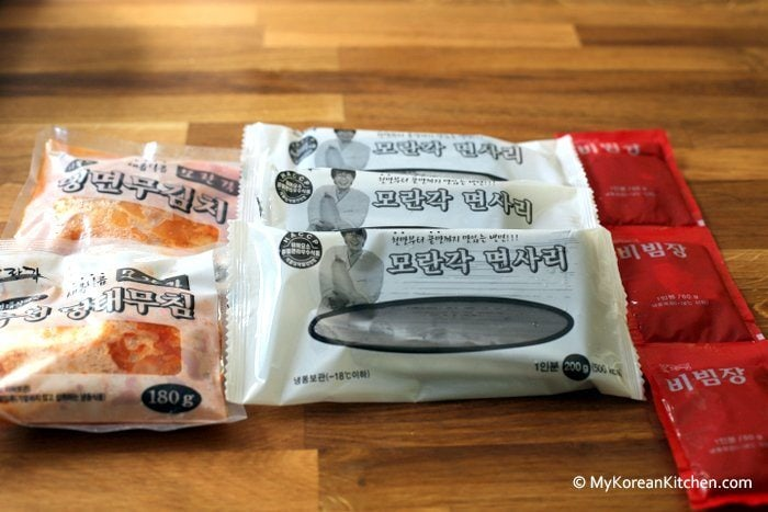 Component of Instant Spicy Korean Cold Noodles (Bibim Naengmyeon)