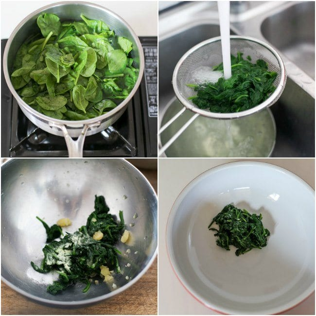 Cooking spinach for Japchae
