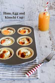 Baked Ham and Egg Cups with Kimchi! On the go breakfast with a Korean twist! | MyKoreanKitchen.com