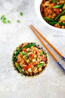 My take on 'Easy Fried Rice' - Cooked with crispy bacon and a mix of frozen vegetables. Ready in 20 mins. It's quick and easy! Delicious, of course! | MyKoreanKitchen.com