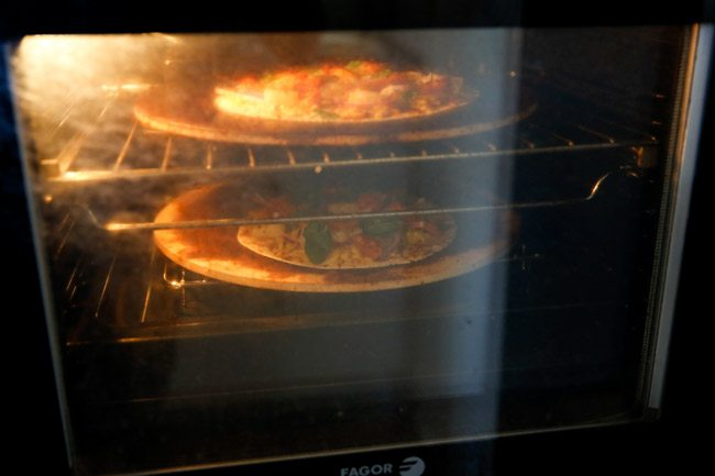 Korean Spicy Chicken BBQ Tortilla Pizza - cooking in the oven