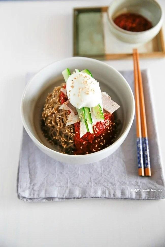 How to make Bibim Naengmyeon (Korean spicy cold noodles) | MyKoreanKitchen.com