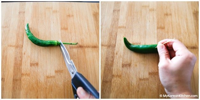 Preparing green chillies for pickling