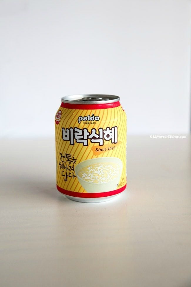 Canned Sikhye (Korean sweet rice drink) by Paldo | MyKoreanKitchen.com