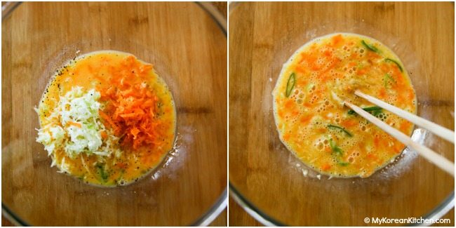 Mixing egg omelette ingredients in a bowl