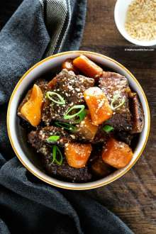 Pressure cooked Korean short ribs and carrots in a bowl