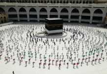 The arrival of pilgrims to Mecca begins for Hajj rites