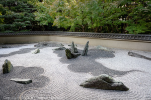 The stone garden of the Ryogin-An Temple, within Tofukuji Temple