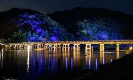 Togetsukyo Bridge illuminated, Arashiyama