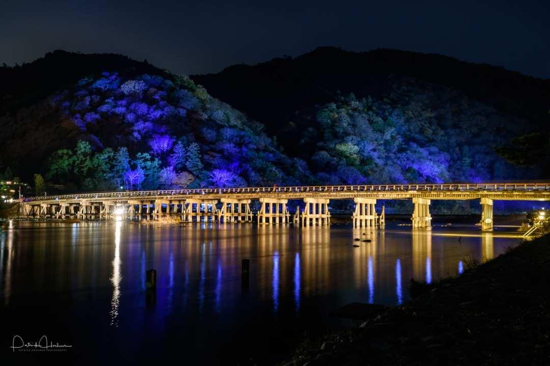 The Togetsukyo Bridge illuminated, Arashiyama