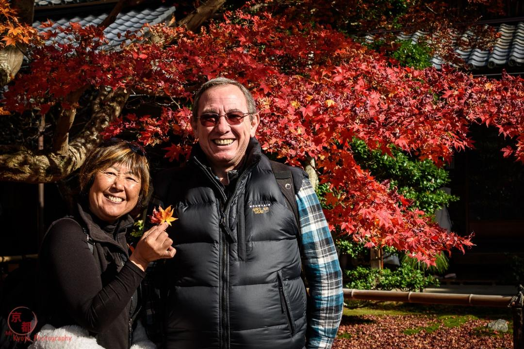 Akiko & Patrick in a temple during the Fall