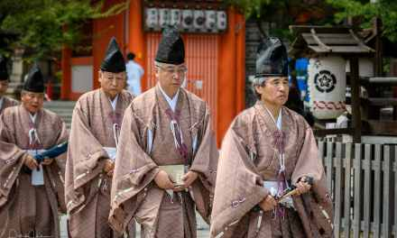 Taking photos of an event, Gion Matsuri